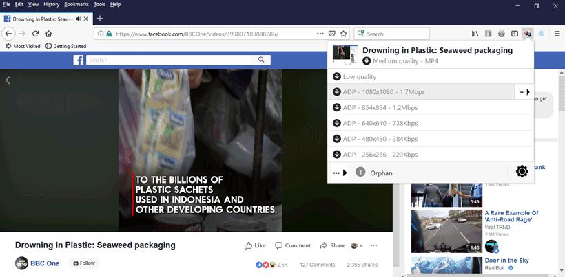 sélection video télécharger Facebook Firefox