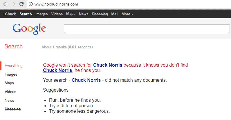 easter egg google chuck norris
