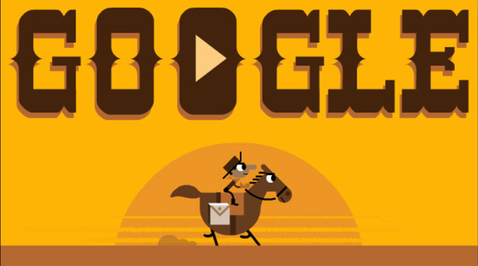 easter egg google cowboy pony express