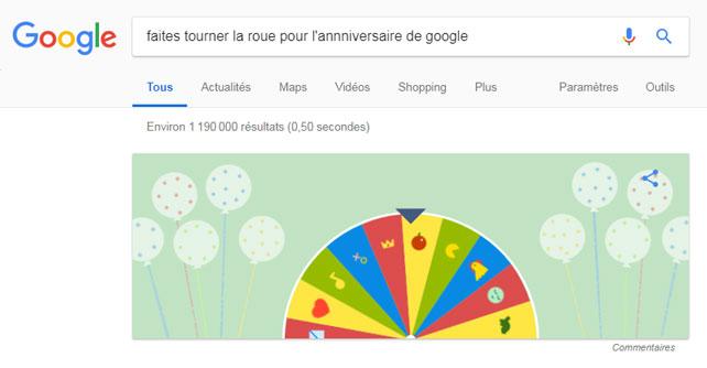 easter egg google faire tourner roue