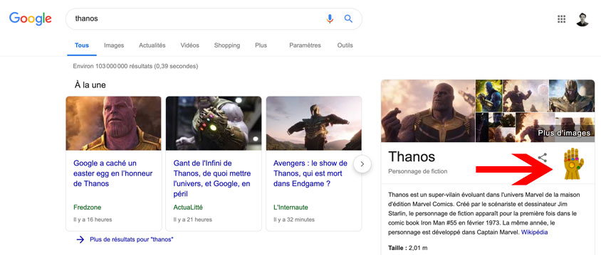 easter egg thanos Google
