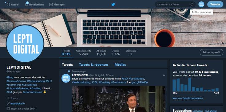 mode nuit twitter ordinateur
