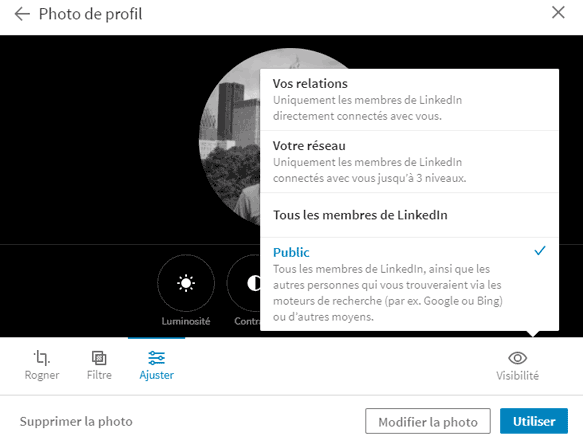 modifier visibilité photo profil linkedin