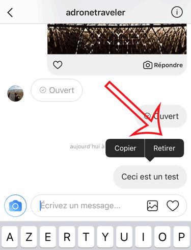 supprimer message privé instagram