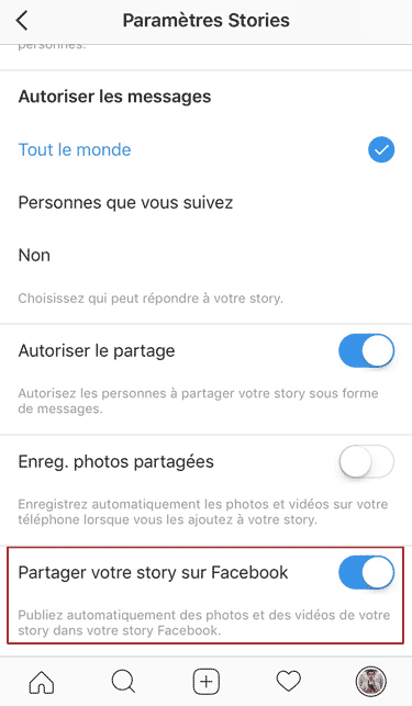activer cross-posting Stories Instagram Facebook