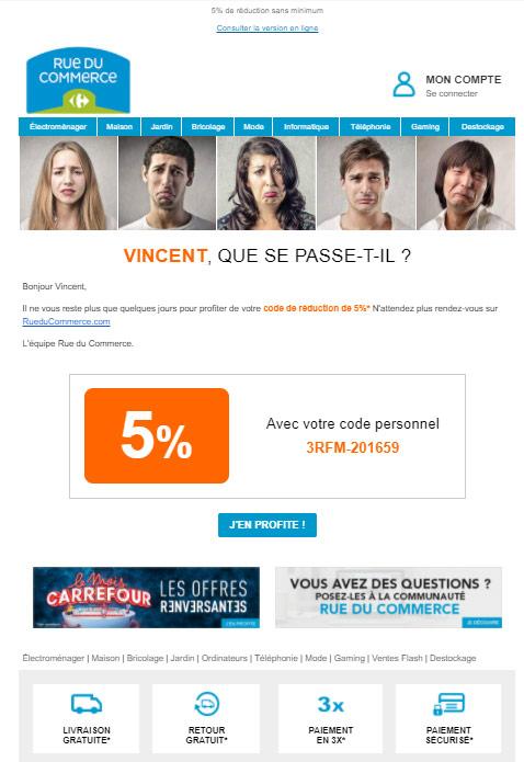 email réactivation Rue du Commerce