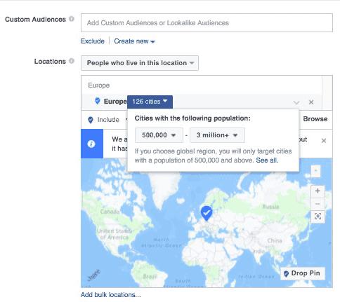 ciblage Facebook multi-villes