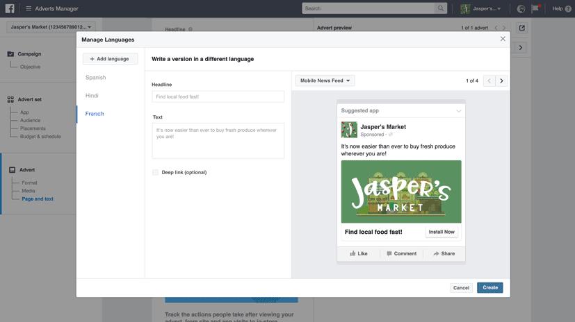 facebook changement langue automatique publicité