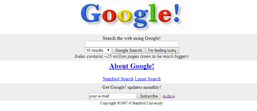 page accueil Google in 1998