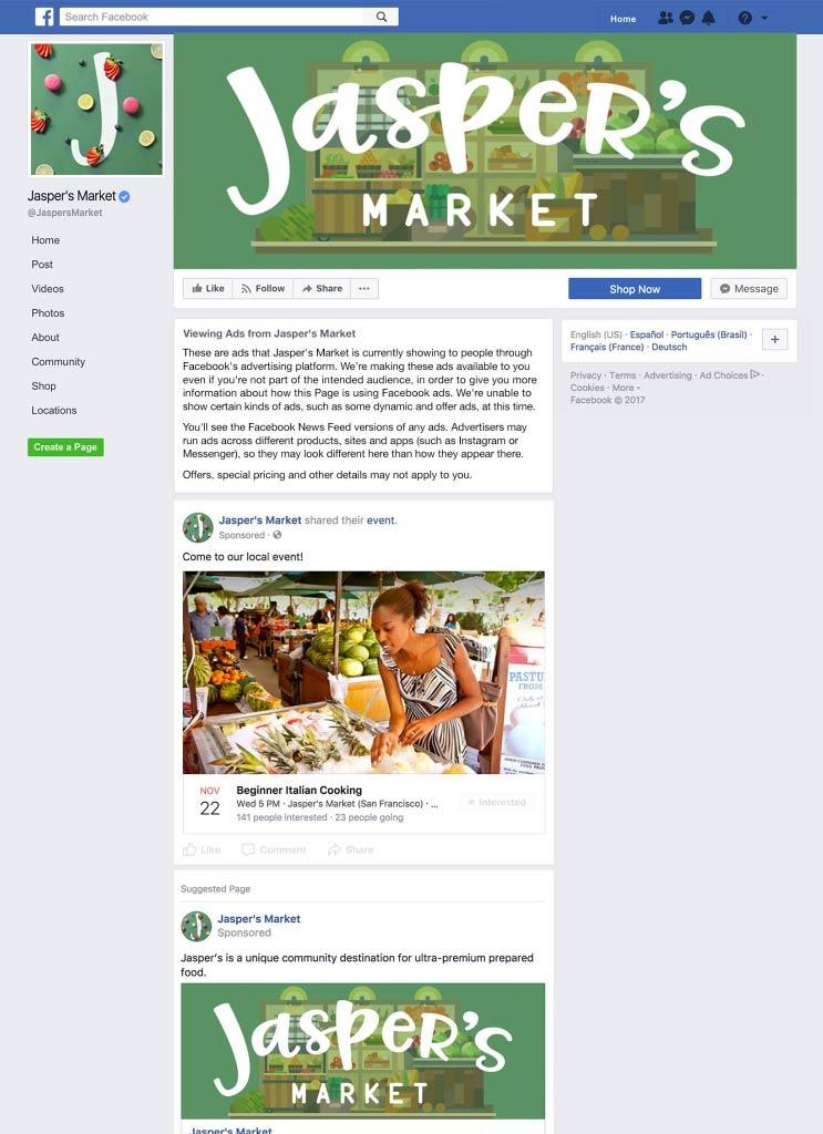publicités pages Facebook