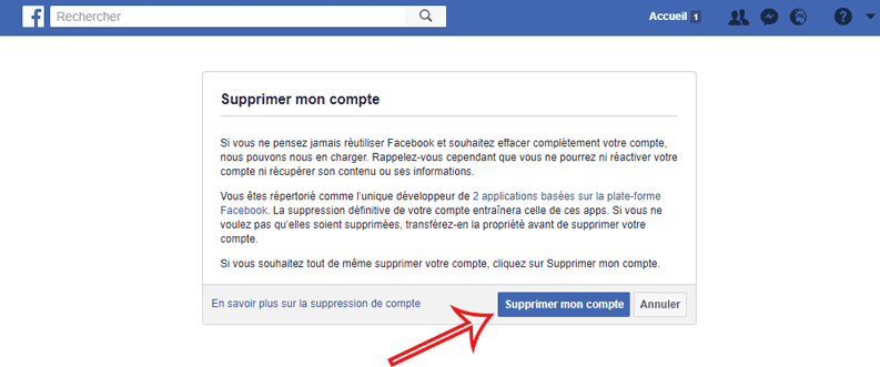 suppression compte Facebook
