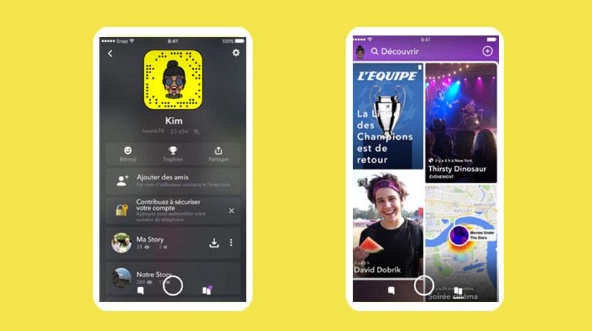aperçu nouveau Snapchat