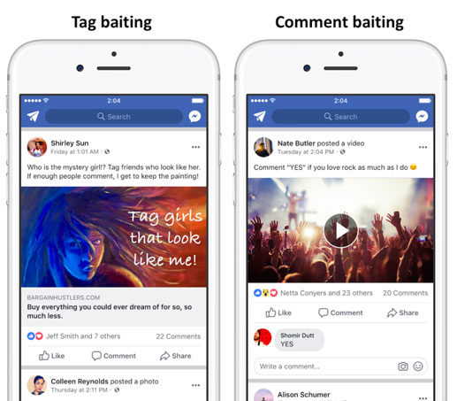types engagement bait facebook