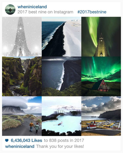 best nine instagram iceland