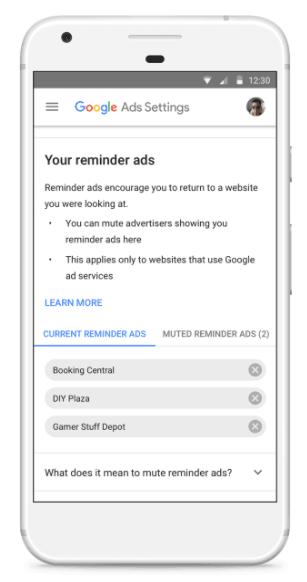 masquer publicités remarketing Google