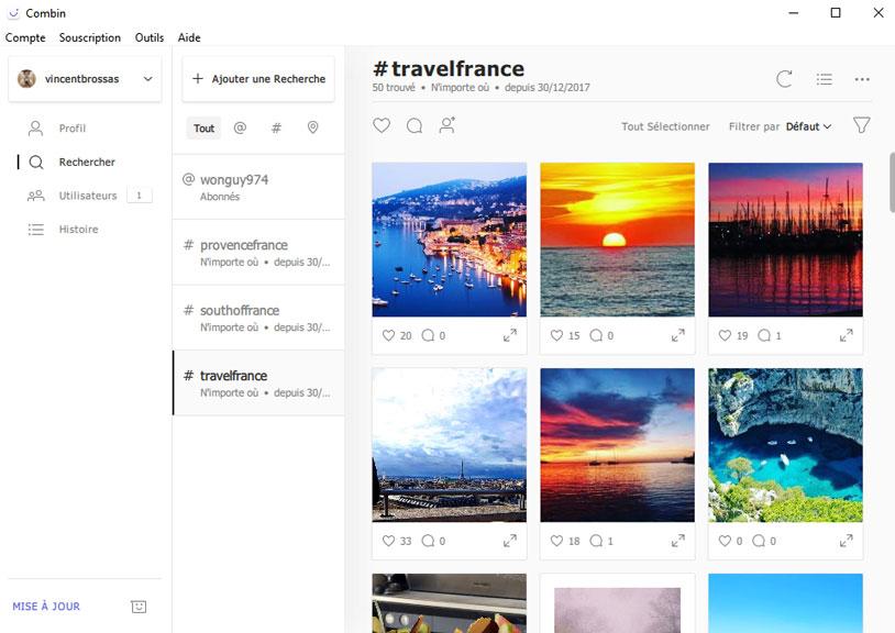 recherche publications Instagram Combin