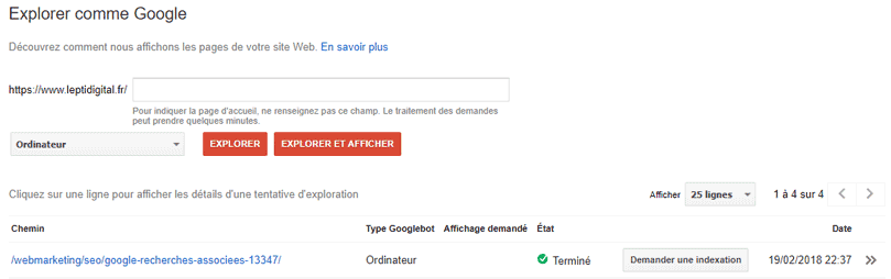 explorer comme google search console