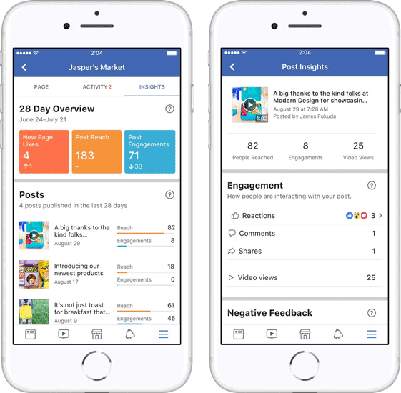nouveau design facebook page insights
