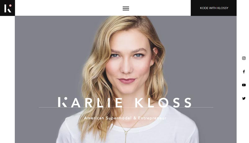 Exemple site Karlie Kloss Wix