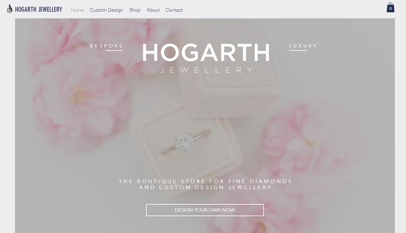 Exemple site Hogarth Jewellery Wix