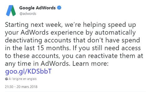 annonce google adwords desactivation comptes