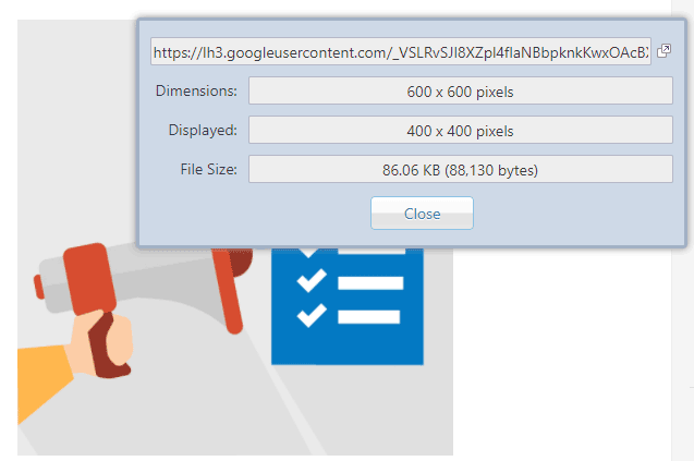 extension chrome image size info
