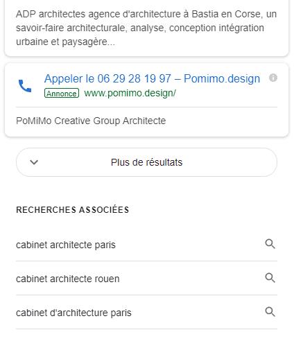 bouton voir plus résultats Google
