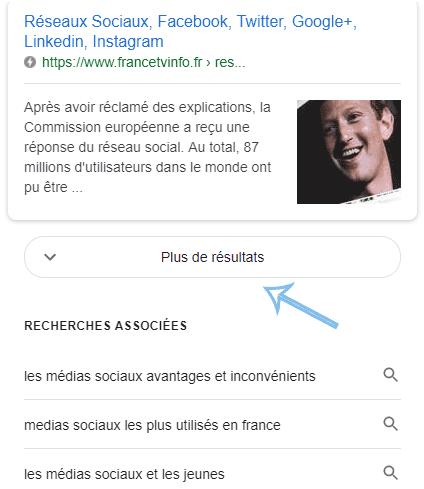 plus de résultats Google
