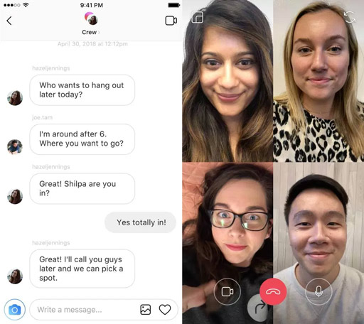 instagram chat video