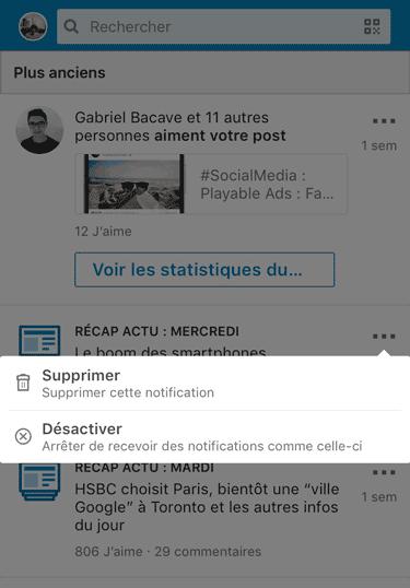 désactiver notifications linkedin application