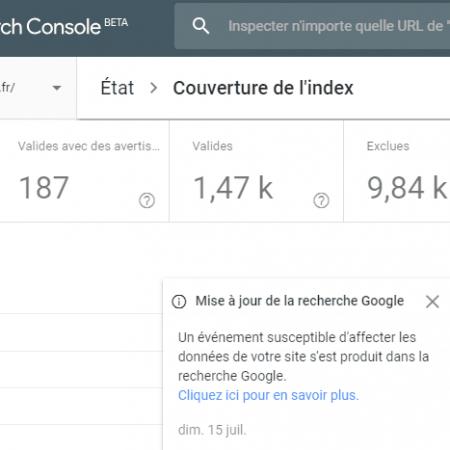 Couverture de l'index : Google annonce une mise à jour des données dans Search Console !