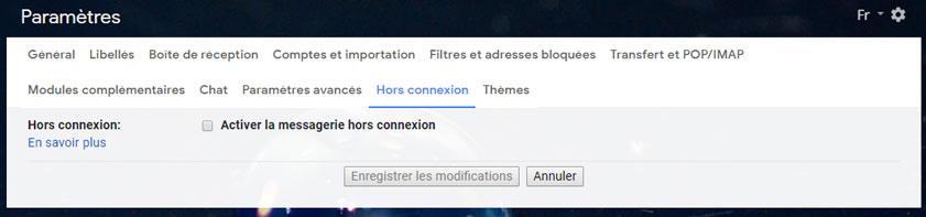 activer gmail hors connexion