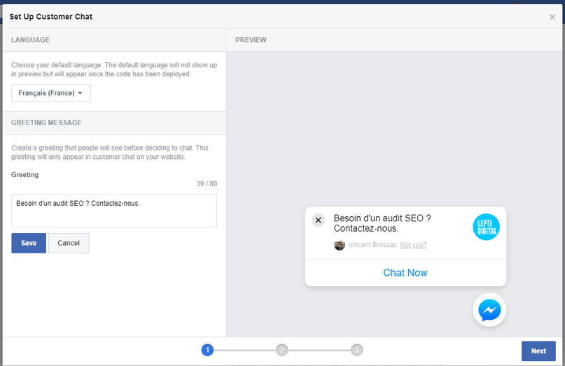 configuration customer chat messenger