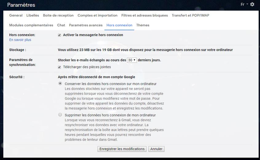 gmail offline paramètres