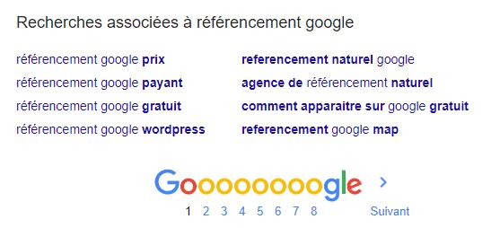 exemple recherches associées google