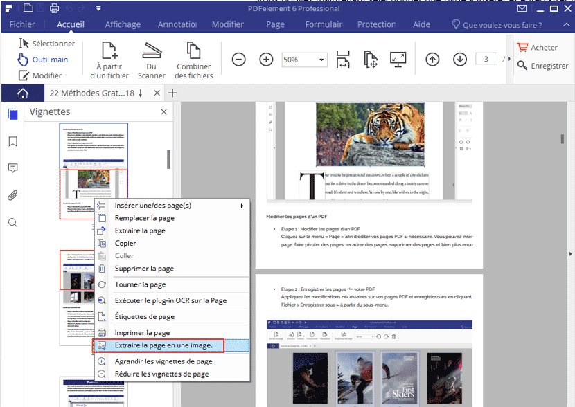 extraire des pages PDF en images