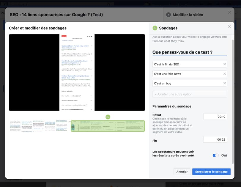 configuration sondage video Facebook