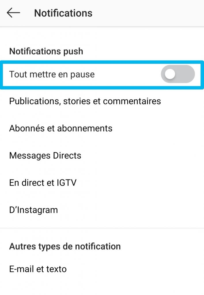 mise en pause notifications instagram
