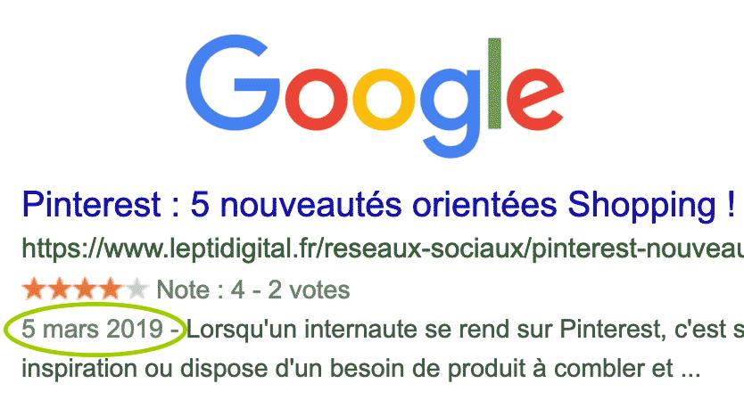 afficher dates Google