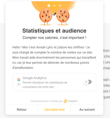 gestion cookies google analytics axeptio