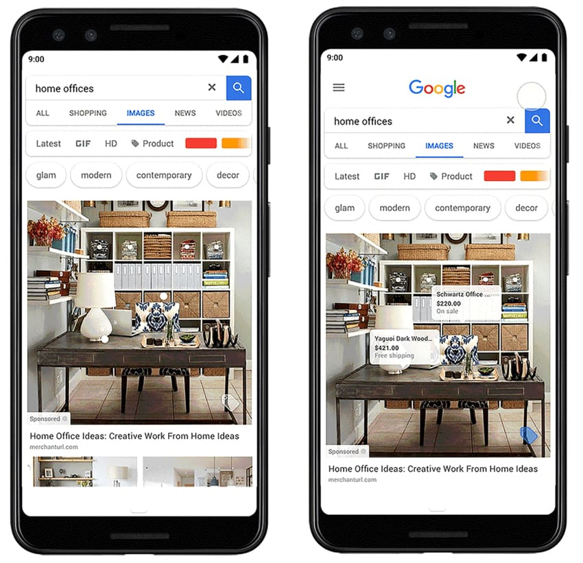 Shoppable ads Google Images