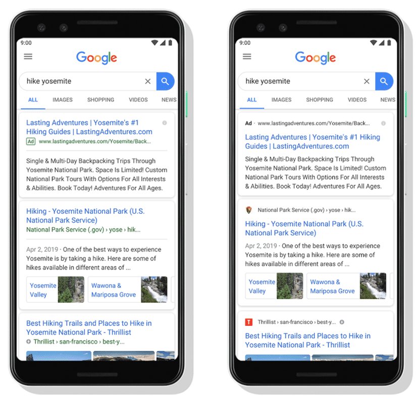 changements serps google 2019
