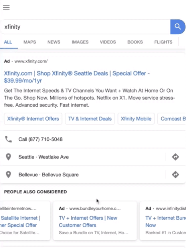 test google carrousel liens sponsorisés