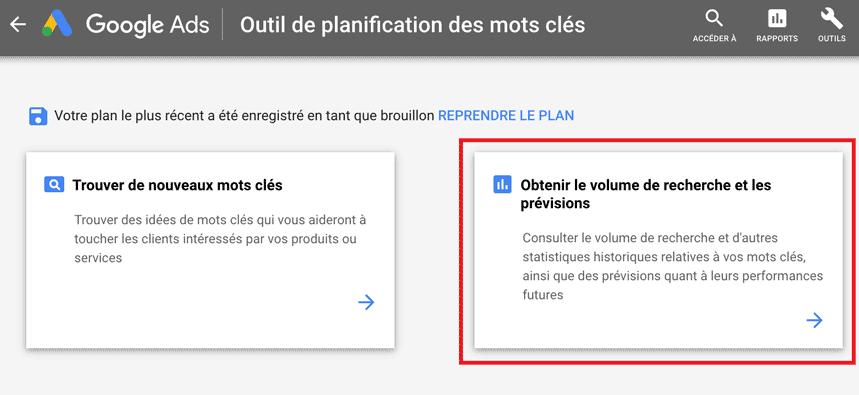 obtenir volume recherche keyword planner