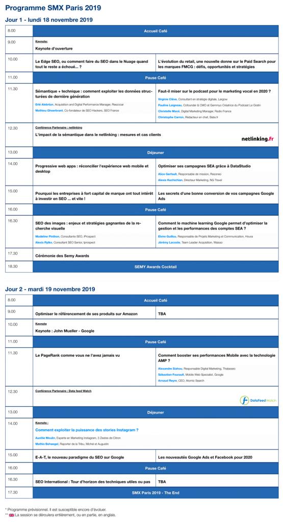 Programme SMX Paris 2019 17 & 18 Novembre