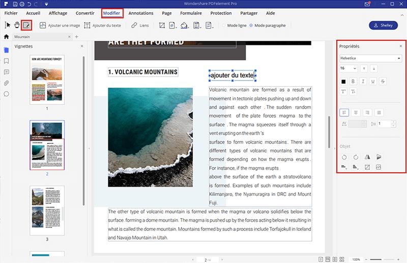 modifier texte PDFelement
