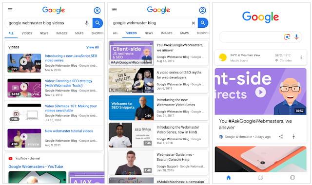 affichage vidéos Google