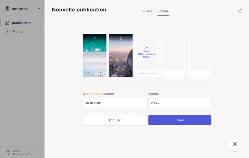 planification publication stories instagram