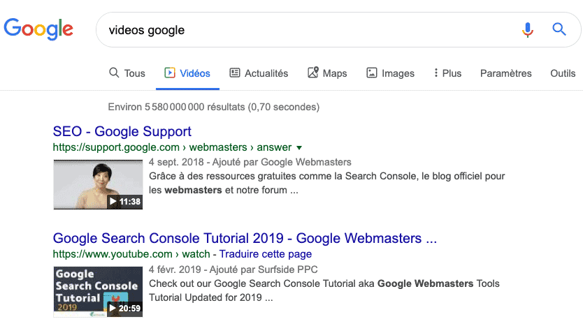 video search console