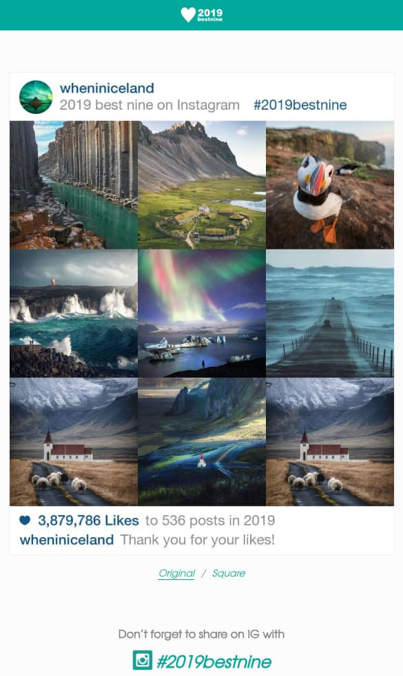 exemple instagram best nine 2019